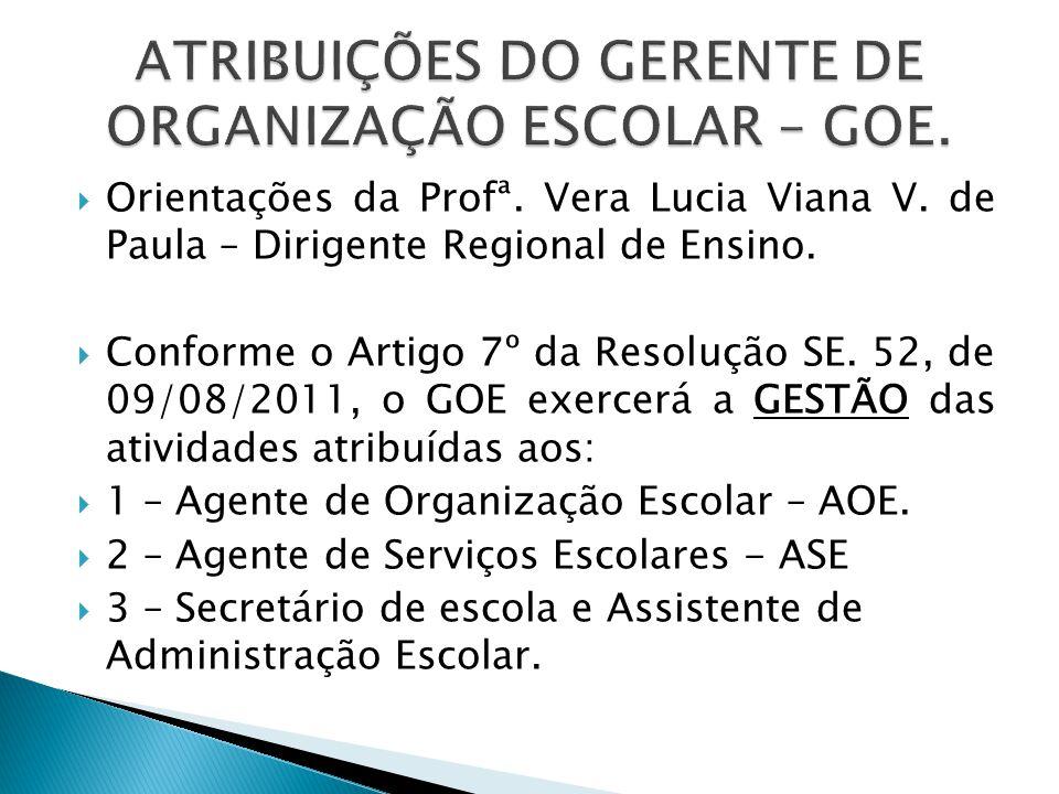 Orientações da Profª.Vera Lucia Viana V. de Paula – Dirigente Regional de Ensino.