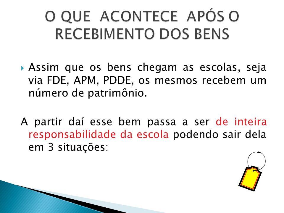  Assim que os bens chegam as escolas, seja via FDE, APM, PDDE, os mesmos recebem um número de patrimônio.