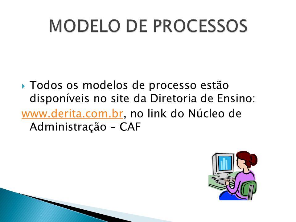  Todos os modelos de processo estão disponíveis no site da Diretoria de Ensino: www.derita.com.brwww.derita.com.br, no link do Núcleo de Administração – CAF