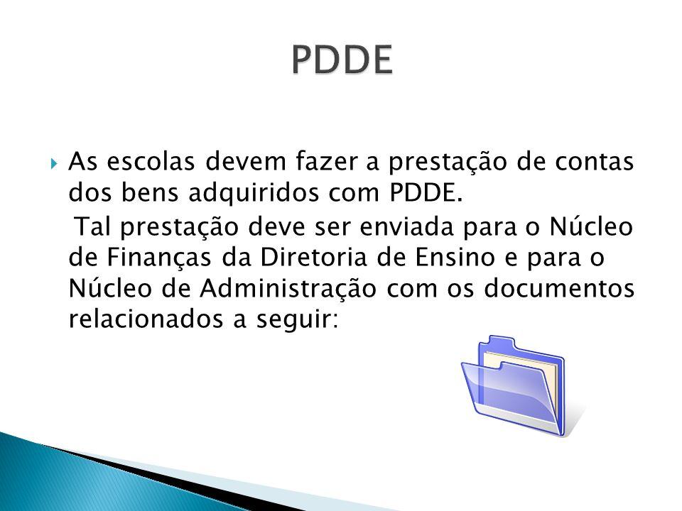  As escolas devem fazer a prestação de contas dos bens adquiridos com PDDE.