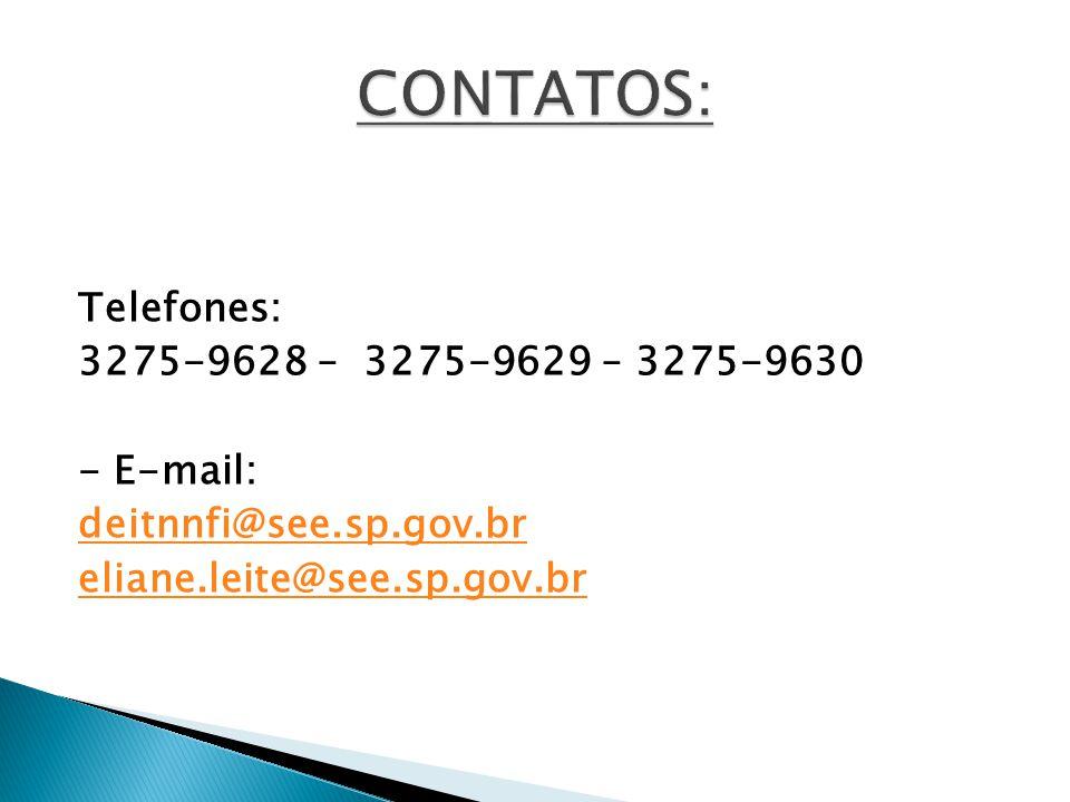 Telefones: 3275-9628 – 3275-9629 – 3275-9630 - E-mail: deitnnfi@see.sp.gov.br eliane.leite@see.sp.gov.br