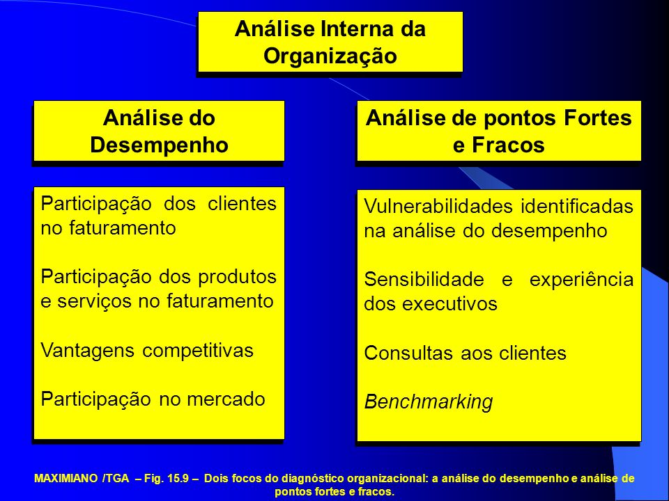 Análise Interna da Organização Análise do Desempenho Análise de pontos Fortes e Fracos Participação dos clientes no faturamento Participação dos produ