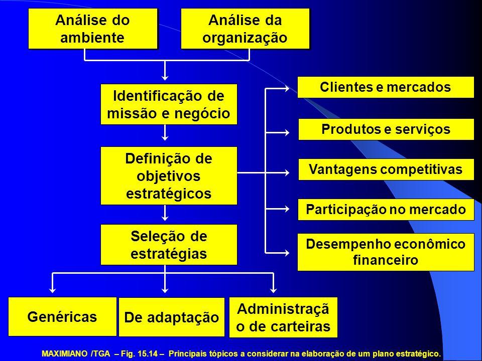Análise do ambiente Análise da organização Identificação de missão e negócio De adaptação Genéricas Administraçã o de carteiras Vantagens competitivas