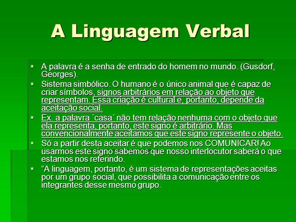 A Linguagem Verbal  A palavra é a senha de entrado do homem no mundo. (Gusdorf, Georges).  Sistema simbólico. O humano é o único animal que é capaz