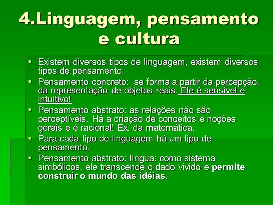 4.Linguagem, pensamento e cultura  Existem diversos tipos de linguagem, existem diversos tipos de pensamento.  Pensamento concreto: se forma a parti