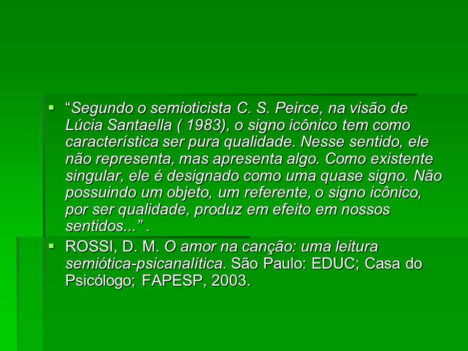 """ """"Segundo o semioticista C. S. Peirce, na visão de Lúcia Santaella ( 1983), o signo icônico tem como característica ser pura qualidade. Nesse sentido"""