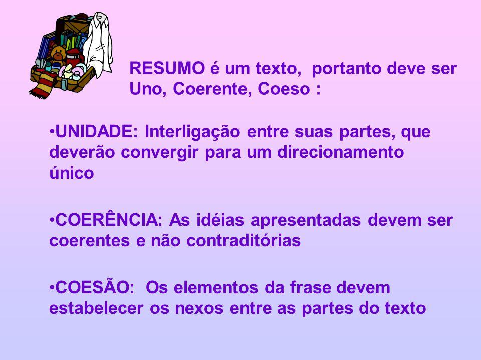 RESUMO é um texto, portanto deve ser Uno, Coerente, Coeso : UNIDADE: Interligação entre suas partes, que deverão convergir para um direcionamento únic