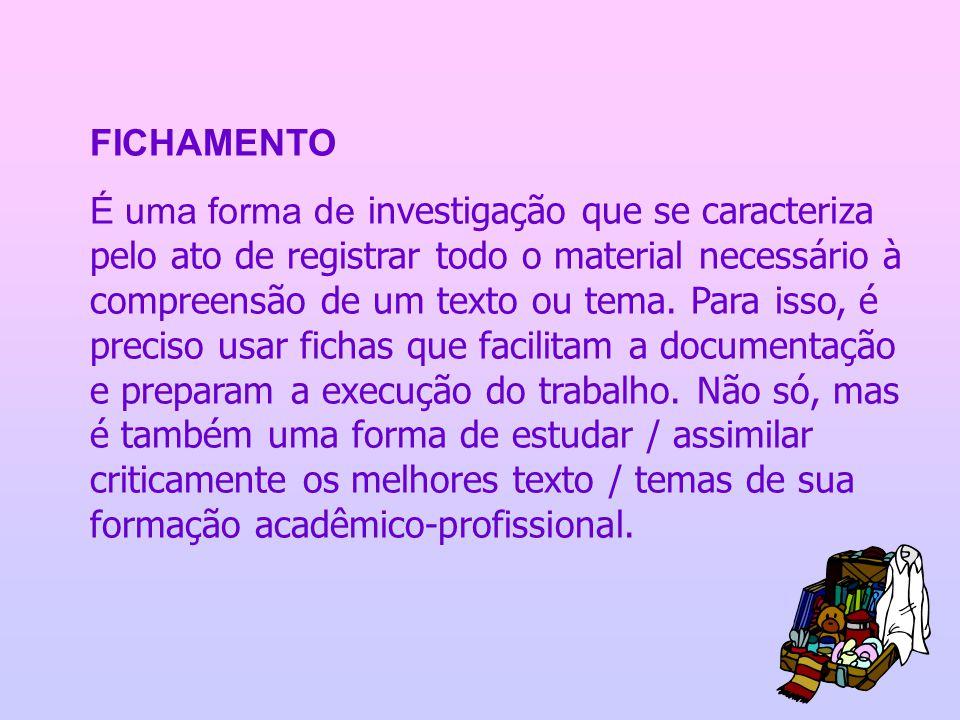 FICHAMENTO É uma forma de investigação que se caracteriza pelo ato de registrar todo o material necessário à compreensão de um texto ou tema. Para iss