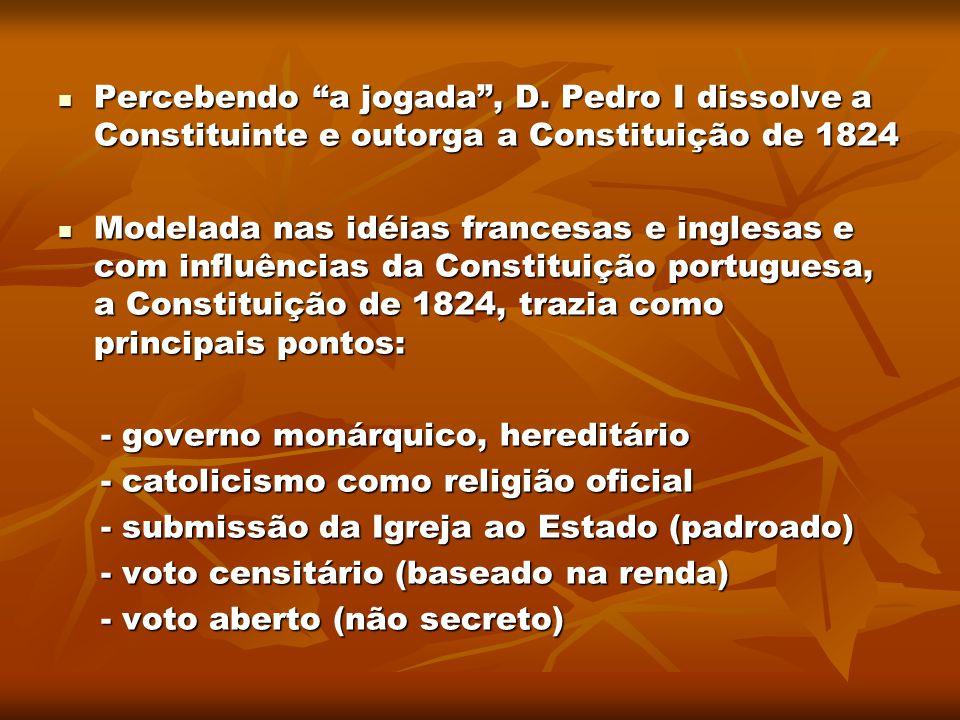 """Percebendo """"a jogada"""", D. Pedro I dissolve a Constituinte e outorga a Constituição de 1824 Percebendo """"a jogada"""", D. Pedro I dissolve a Constituinte e"""