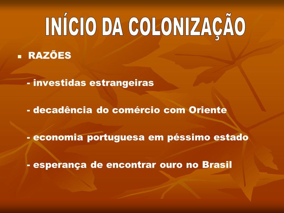 RAZÕES - investidas estrangeiras - decadência do comércio com Oriente - economia portuguesa em péssimo estado - esperança de encontrar ouro no Brasil