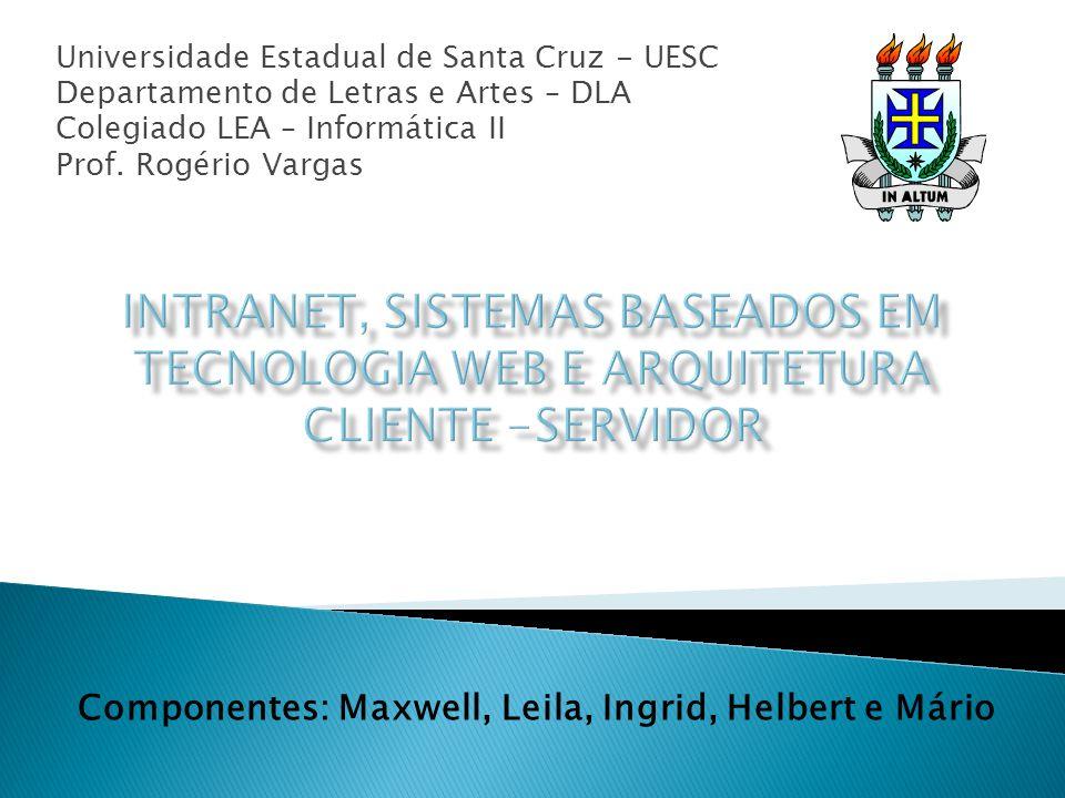 Universidade Estadual de Santa Cruz - UESC Departamento de Letras e Artes – DLA Colegiado LEA – Informática II Prof. Rogério Vargas Componentes: Maxwe