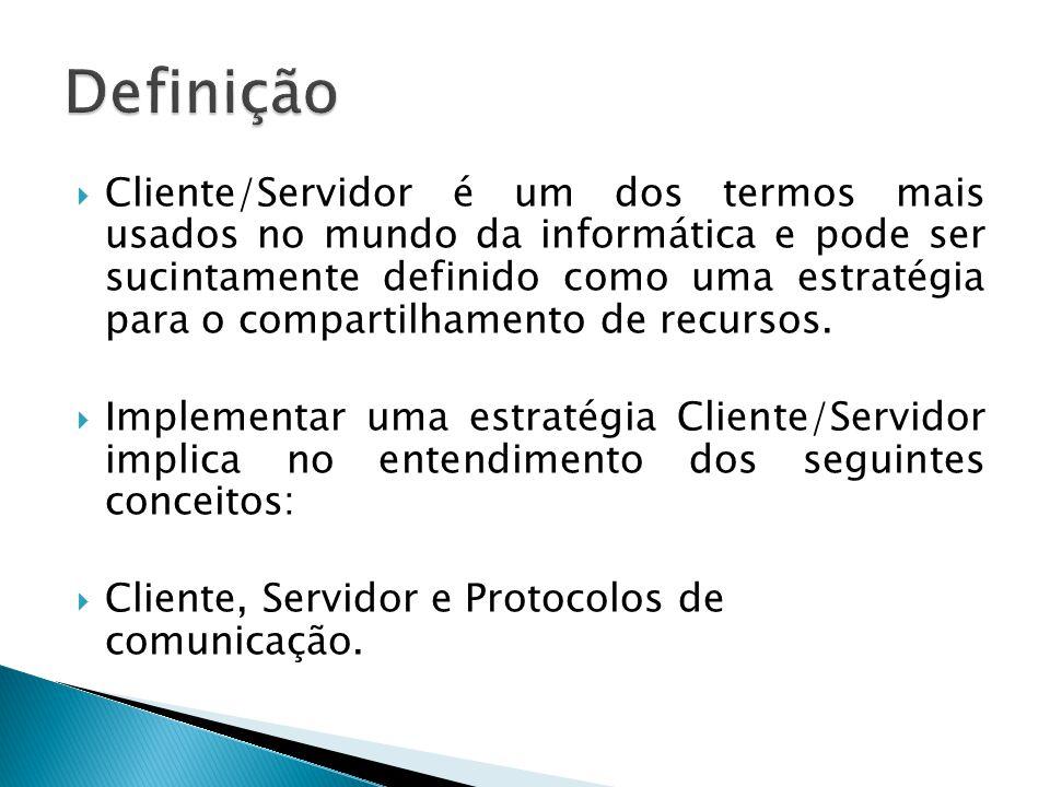  Cliente/Servidor é um dos termos mais usados no mundo da informática e pode ser sucintamente definido como uma estratégia para o compartilhamento de