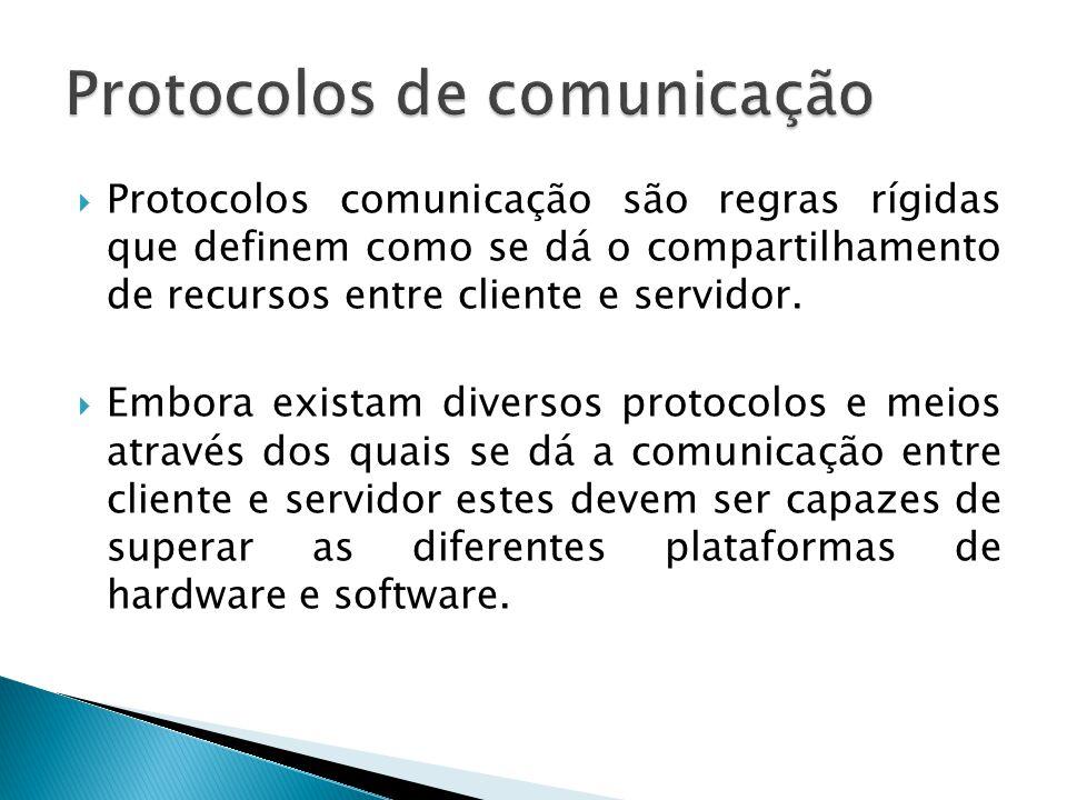  Protocolos comunicação são regras rígidas que definem como se dá o compartilhamento de recursos entre cliente e servidor.  Embora existam diversos