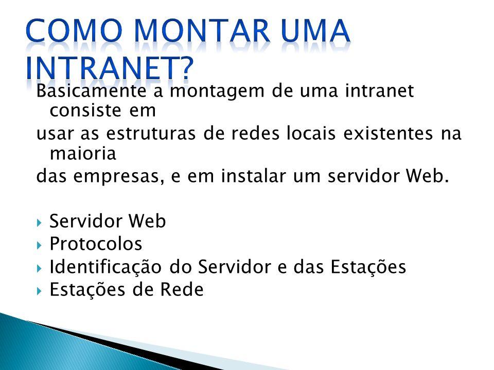 Basicamente a montagem de uma intranet consiste em usar as estruturas de redes locais existentes na maioria das empresas, e em instalar um servidor We