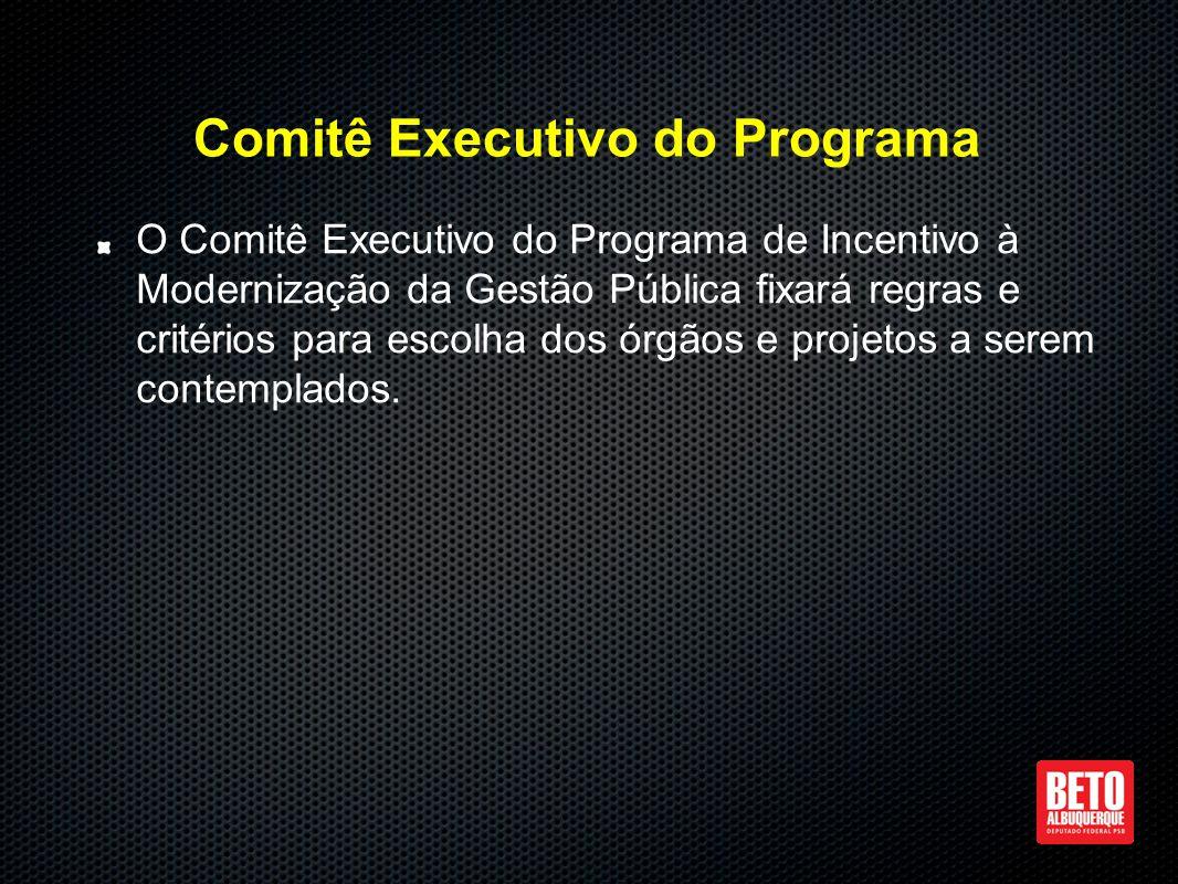 Comitê Executivo do Programa O Comitê Executivo do Programa de Incentivo à Modernização da Gestão Pública fixará regras e critérios para escolha dos órgãos e projetos a serem contemplados.