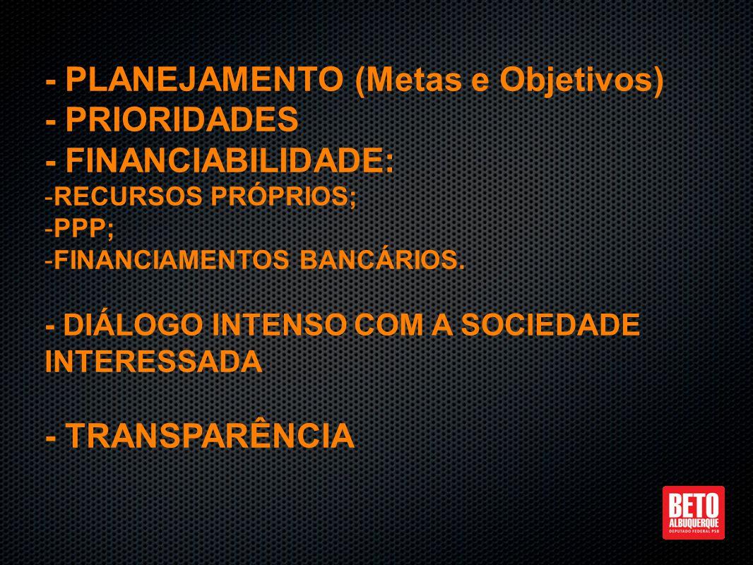 - PLANEJAMENTO (Metas e Objetivos) - PRIORIDADES - FINANCIABILIDADE: - -RECURSOS PRÓPRIOS; - -PPP; - -FINANCIAMENTOS BANCÁRIOS.