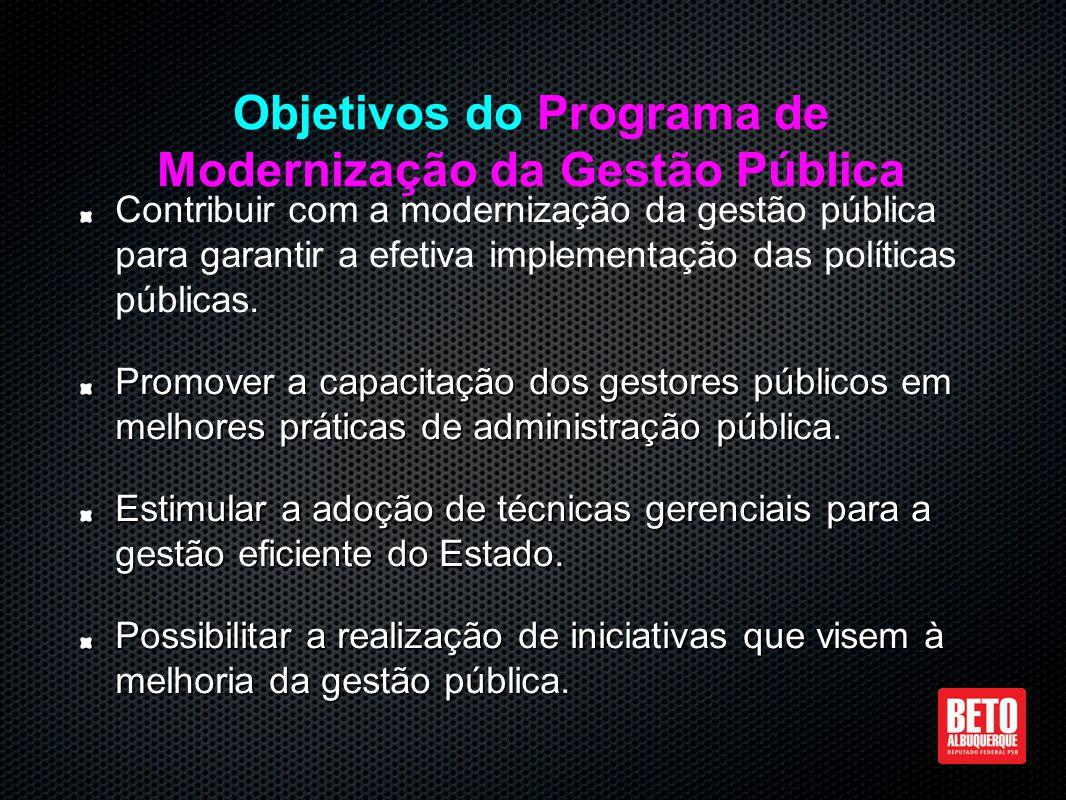 Contribuir com a modernização da gestão pública para garantir a efetiva implementação das políticas públicas.