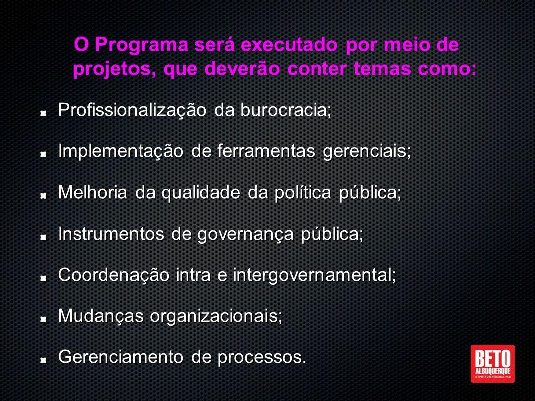 Profissionalização da burocracia; Implementação de ferramentas gerenciais; Melhoria da qualidade da política pública; Instrumentos de governança pública; Coordenação intra e intergovernamental; Mudanças organizacionais; Gerenciamento de processos.