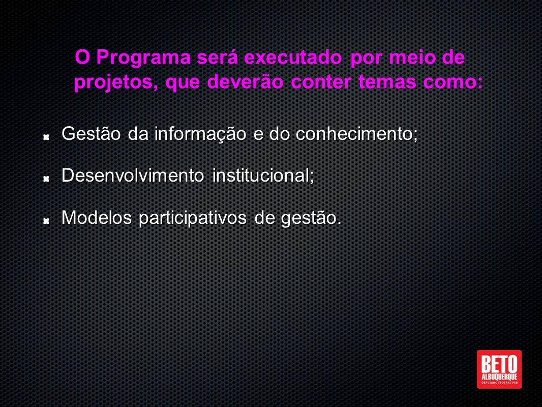 Gestão da informação e do conhecimento; Desenvolvimento institucional; Modelos participativos de gestão.