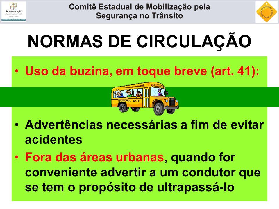 NORMAS DE CIRCULAÇÃO Uso da buzina, em toque breve (art. 41): Advertências necessárias a fim de evitar acidentes Fora das áreas urbanas, quando for co