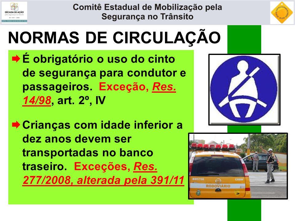 NORMAS DE CIRCULAÇÃO  É obrigatório o uso do cinto de segurança para condutor e passageiros. Exceção, Res. 14/98, art. 2º, IV  Crianças com idade in