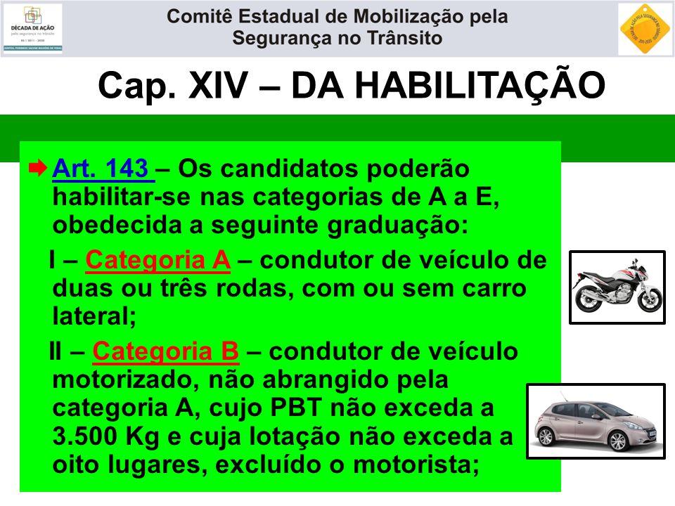 Cap. XIV – DA HABILITAÇÃO  Art. 143 – Os candidatos poderão habilitar-se nas categorias de A a E, obedecida a seguinte graduação: I – Categoria A – c