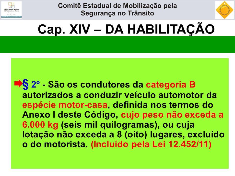 Cap. XIV – DA HABILITAÇÃO  § 2º - São os condutores da categoria B autorizados a conduzir veículo automotor da espécie motor-casa, definida nos termo