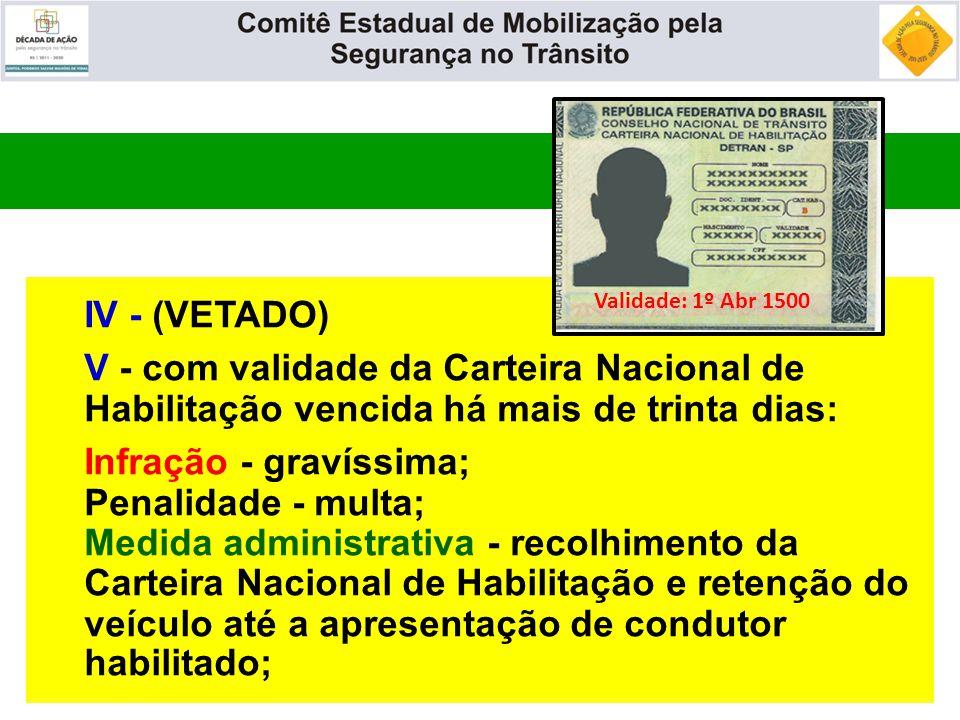 IV - (VETADO) V - com validade da Carteira Nacional de Habilitação vencida há mais de trinta dias: Infração - gravíssima; Penalidade - multa; Medida a