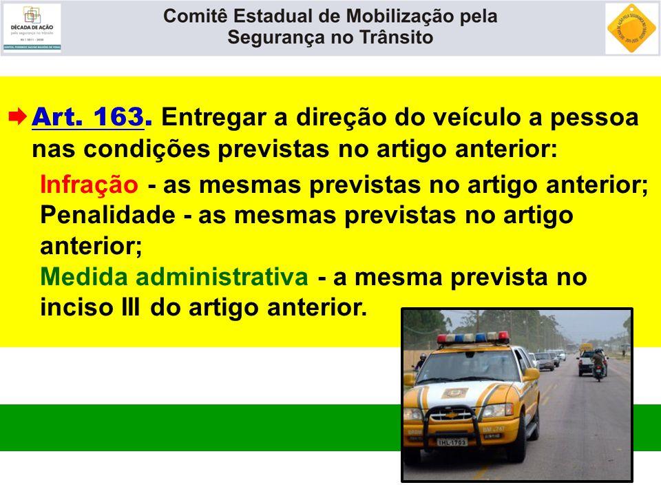  Art. 163. Entregar a direção do veículo a pessoa nas condições previstas no artigo anterior: Infração - as mesmas previstas no artigo anterior; Pena