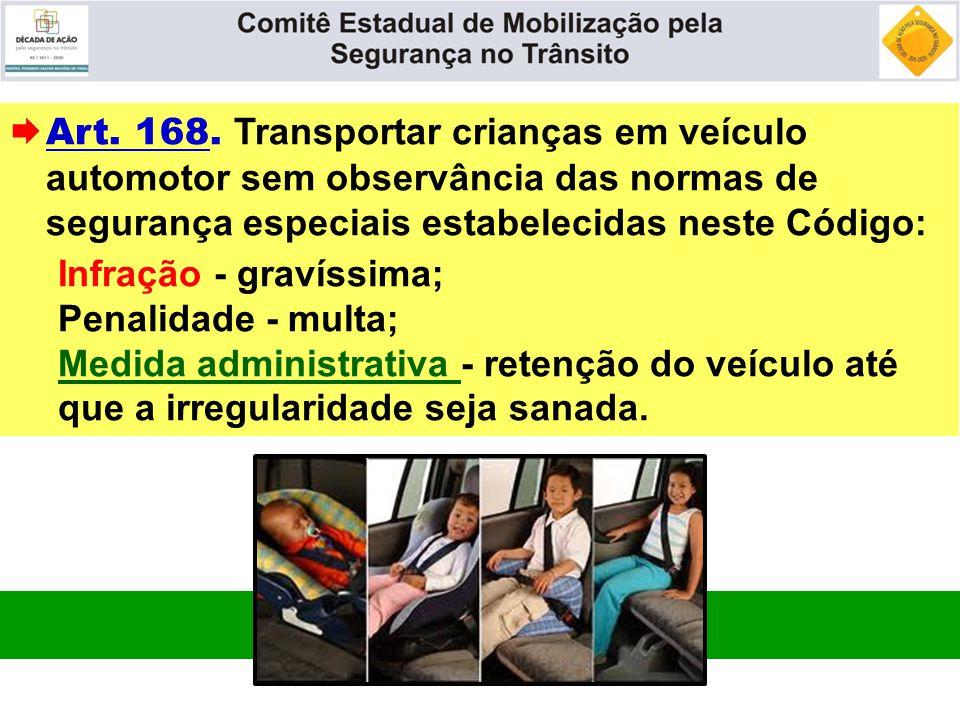  Art. 168. Transportar crianças em veículo automotor sem observância das normas de segurança especiais estabelecidas neste Código: Infração - gravíss