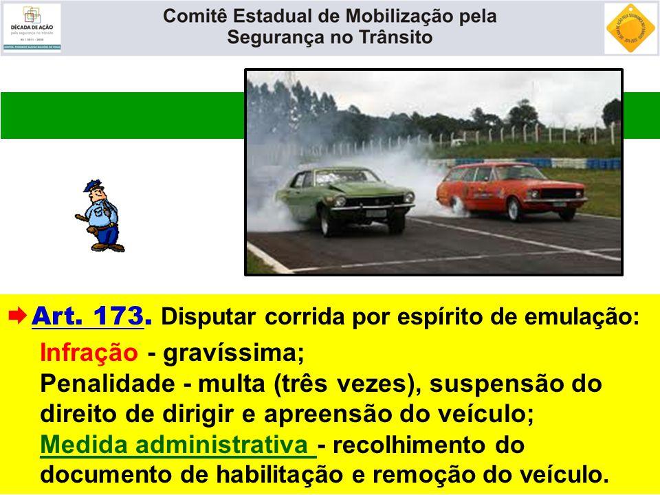  Art. 173. Disputar corrida por espírito de emulação: Infração - gravíssima; Penalidade - multa (três vezes), suspensão do direito de dirigir e apree