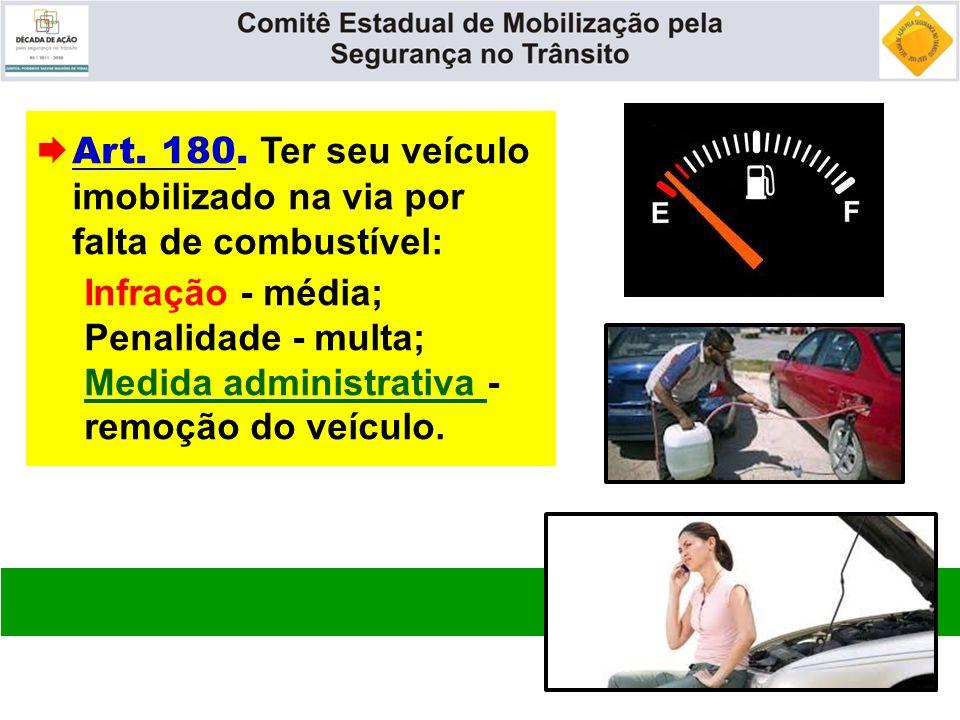  Art. 180. Ter seu veículo imobilizado na via por falta de combustível: Infração - média; Penalidade - multa; Medida administrativa - remoção do veíc