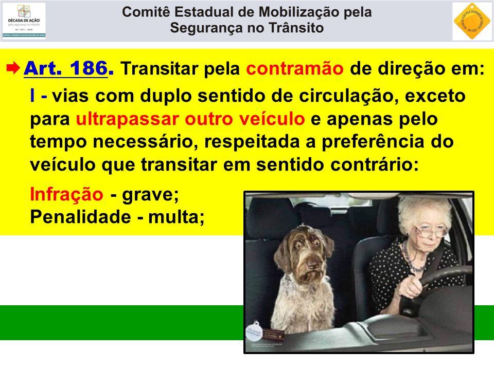  Art. 186. Transitar pela contramão de direção em: I - vias com duplo sentido de circulação, exceto para ultrapassar outro veículo e apenas pelo temp