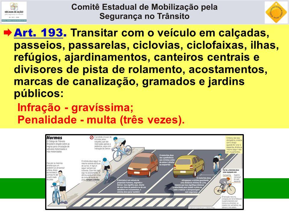  Art. 193. Transitar com o veículo em calçadas, passeios, passarelas, ciclovias, ciclofaixas, ilhas, refúgios, ajardinamentos, canteiros centrais e d