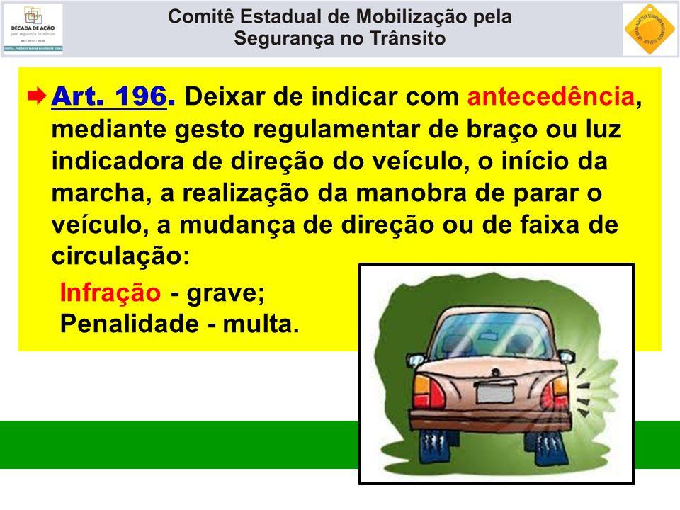  Art. 196. Deixar de indicar com antecedência, mediante gesto regulamentar de braço ou luz indicadora de direção do veículo, o início da marcha, a re