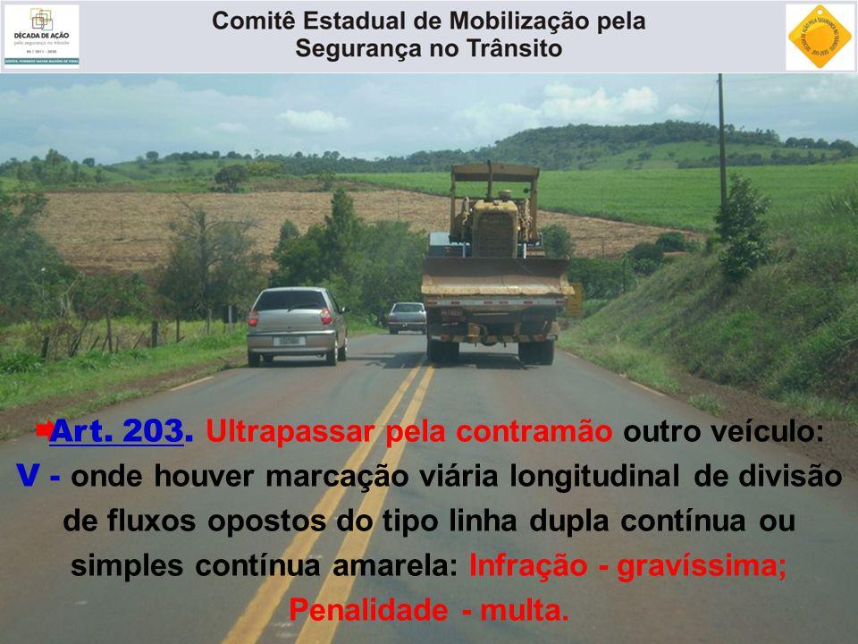  Art. 203. Ultrapassar pela contramão outro veículo: V - onde houver marcação viária longitudinal de divisão de fluxos opostos do tipo linha dupla co