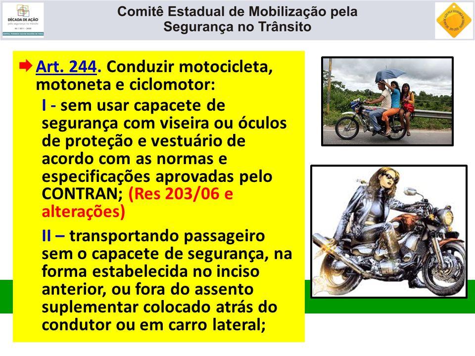  Art. 244. Conduzir motocicleta, motoneta e ciclomotor: I - sem usar capacete de segurança com viseira ou óculos de proteção e vestuário de acordo co