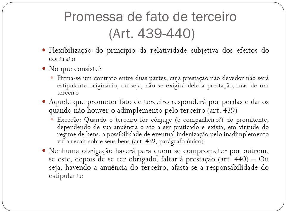 Promessa de fato de terceiro (Art. 439-440) Flexibilização do princípio da relatividade subjetiva dos efeitos do contrato No que consiste? Firma-se um