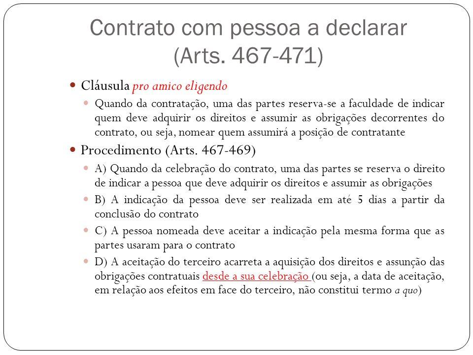 Contrato com pessoa a declarar (Arts. 467-471) Cláusula pro amico eligendo Quando da contratação, uma das partes reserva-se a faculdade de indicar que