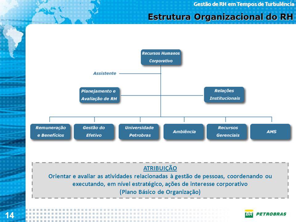 14 Gestão de RH em Tempos de Turbulência Estrutura Organizacional do RH ATRIBUIÇÃO Orientar e avaliar as atividades relacionadas à gestão de pessoas,
