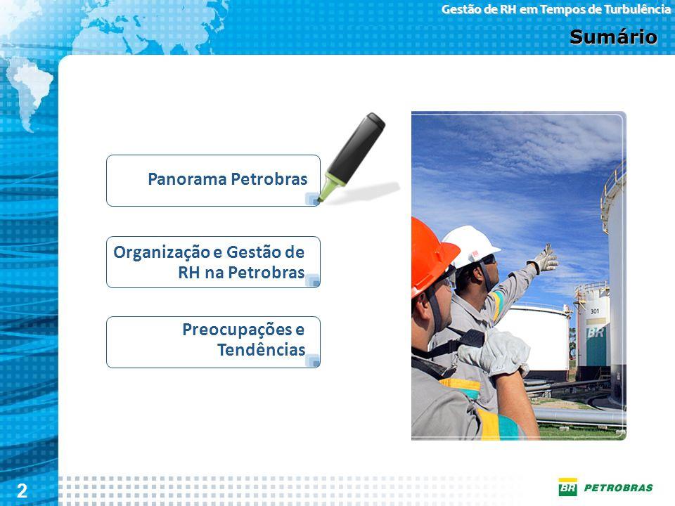 2 Gestão de RH em Tempos de Turbulência Organização e Gestão de RH na Petrobras Sumário Panorama Petrobras Preocupações e Tendências
