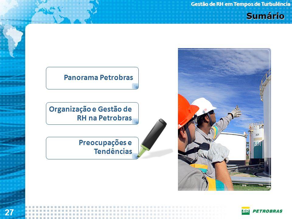 27 Gestão de RH em Tempos de Turbulência Organização e Gestão de RH na Petrobras Sumário Panorama Petrobras Preocupações e Tendências
