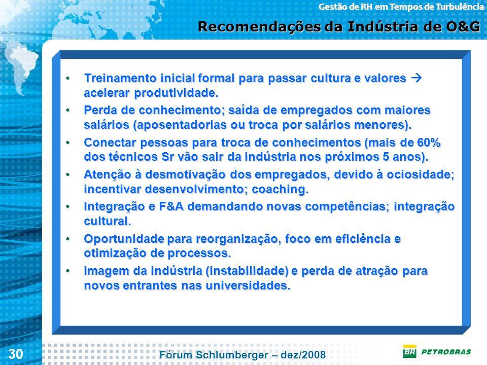 30 Gestão de RH em Tempos de Turbulência Recomendações da Indústria de O&G Treinamento inicial formal para passar cultura e valores  acelerar produti
