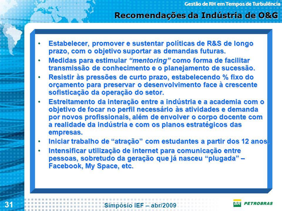 31 Gestão de RH em Tempos de Turbulência Recomendações da Indústria de O&G Estabelecer, promover e sustentar políticas de R&S de longo prazo, com o ob