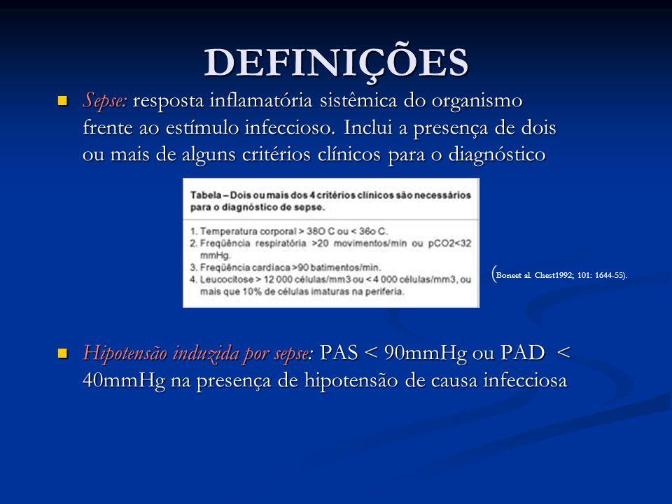 DEFINIÇÕES Sepse: resposta inflamatória sistêmica do organismo frente ao estímulo infeccioso. Inclui a presença de dois ou mais de alguns critérios cl