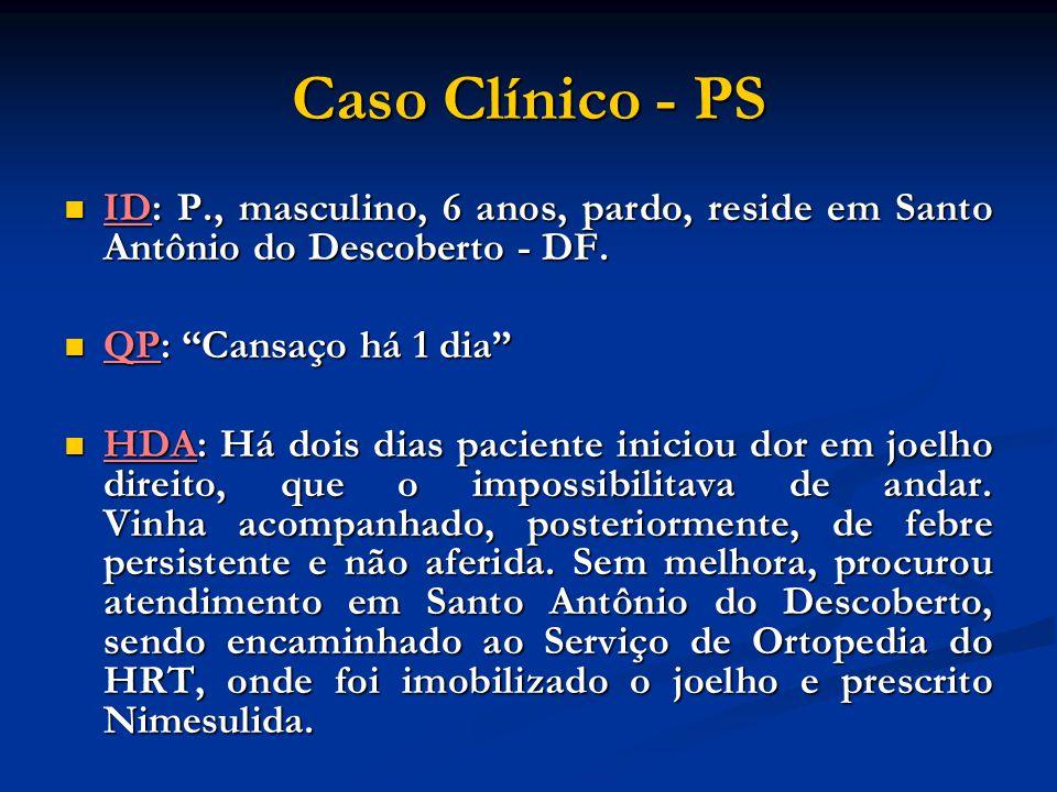 Caso Clínico - PS ID: P., masculino, 6 anos, pardo, reside em Santo Antônio do Descoberto - DF. ID: P., masculino, 6 anos, pardo, reside em Santo Antô