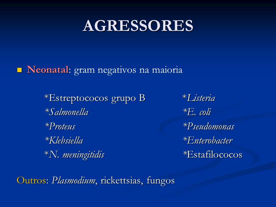 AGRESSORES Neonatal Neonatal: gram negativos na maioria *Estreptococos grupo B*Listeria *Salmonella*E. coli *Proteus*Pseudomonas *Klebsiella*Enterobac