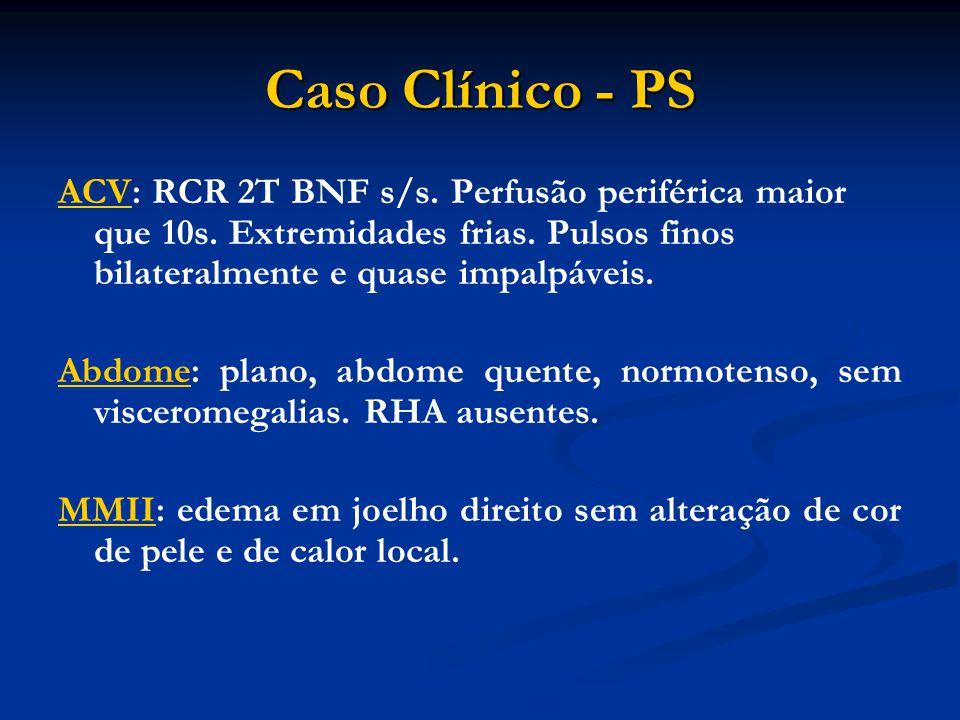 Caso Clínico - PS ACV: RCR 2T BNF s/s. Perfusão periférica maior que 10s. Extremidades frias. Pulsos finos bilateralmente e quase impalpáveis. Abdome: