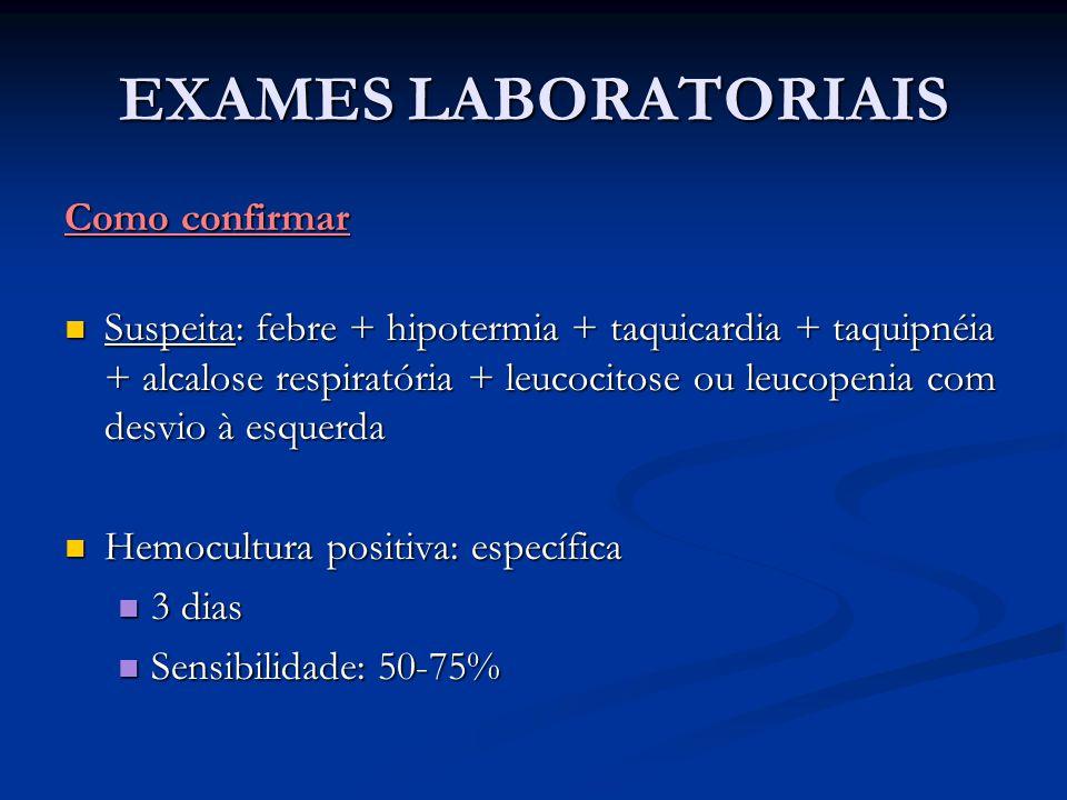 EXAMES LABORATORIAIS Como confirmar Suspeita: febre + hipotermia + taquicardia + taquipnéia + alcalose respiratória + leucocitose ou leucopenia com de