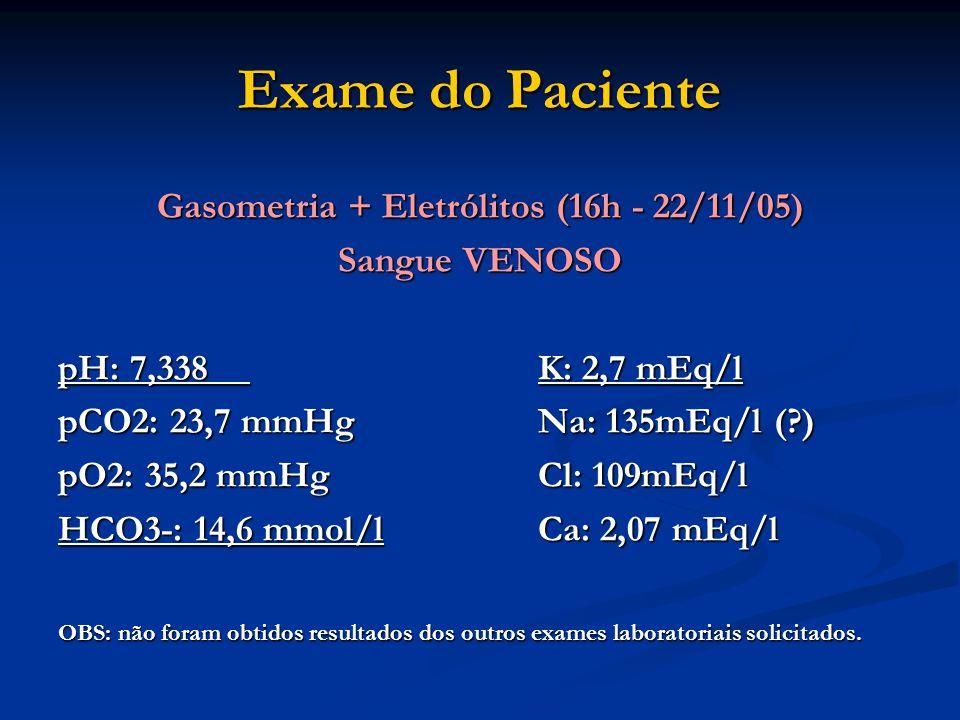 Exame do Paciente Gasometria + Eletrólitos (16h - 22/11/05) Sangue VENOSO pH: 7,338K: 2,7 mEq/l pCO2: 23,7 mmHgNa: 135mEq/l (?) pO2: 35,2 mmHgCl: 109m